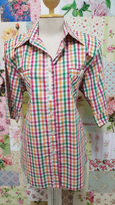 Green, Orange and Pink Check Blouse CE0130