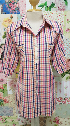 Stone, Navy & Pink Check Blouse CE0132