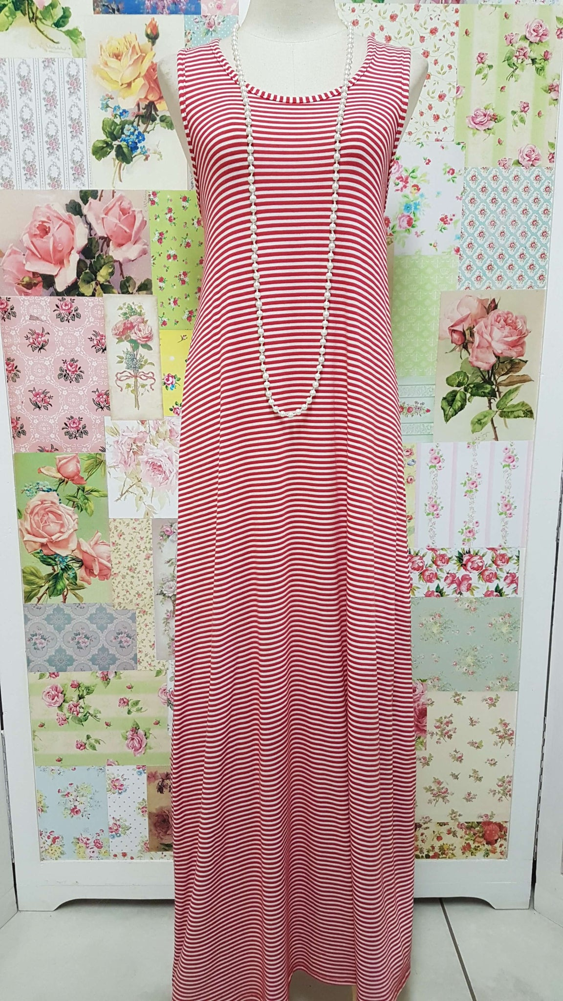 Red & White Stipe Dress BK0329