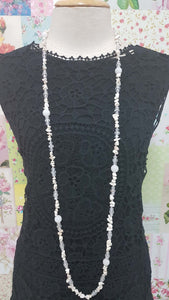 Clear Beads & White Stones Necklace JU0170
