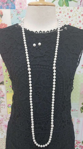 White Pearl & Diamond Necklace Set JU0173