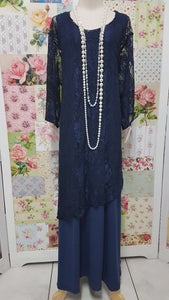 Navy Blue 2-Piece Dress Set JS0138
