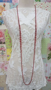 Red Crystal Beads Necklace JU0203