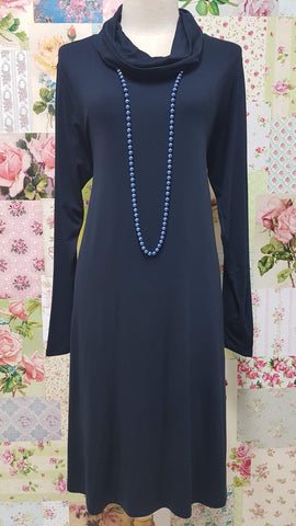 Navy Cowl Neck Top MD087