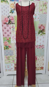 Maroon 2-Piece Pants Set JS0103