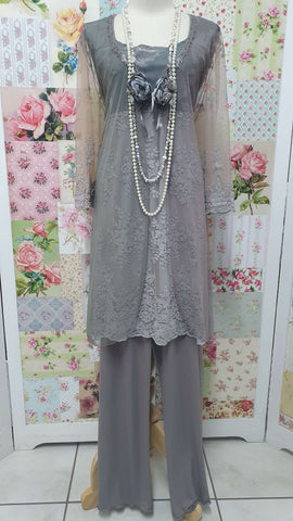 Mocha & Grey 4-Piece Pants Set ML0251