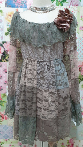 Mocha & Olive Green Lace Top GD0190