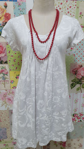 White Printed Top PD024