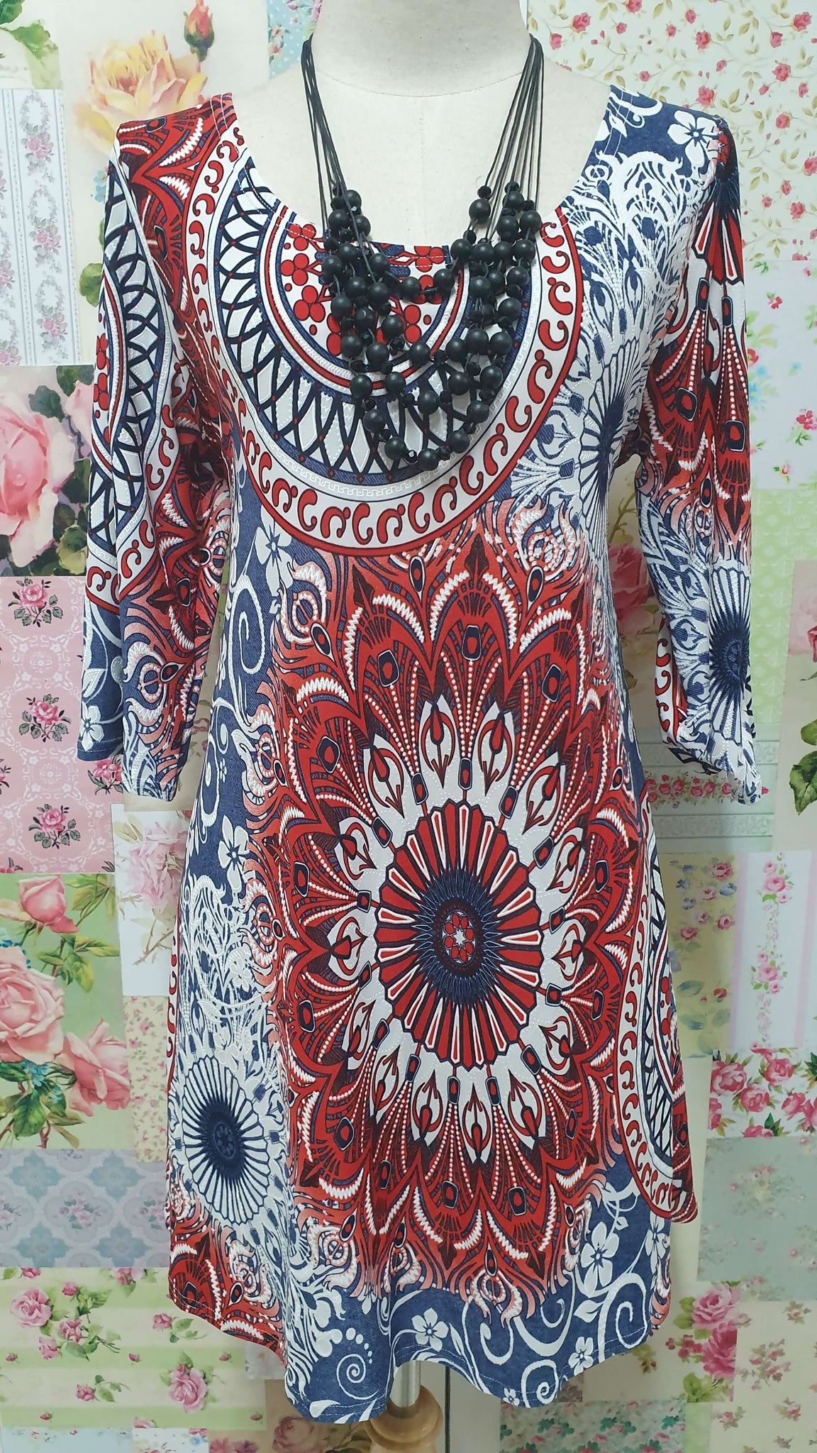 Red & Blue Floral Top VB0108