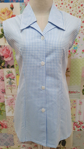 Light Blue Check Blouse BT0182