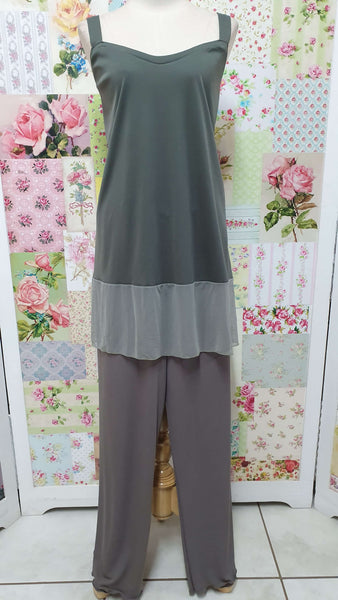 Olive Green & Charcoal 4-Piece Pants Set ML0283
