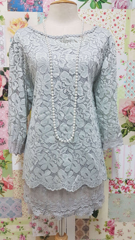Grey Lace 2-Piece Lace Top SZ028