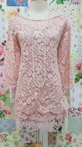Dusty Pink 2-Piece Lace Top SZ030
