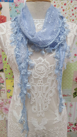 Baby Blue Lace Scarf SE0123