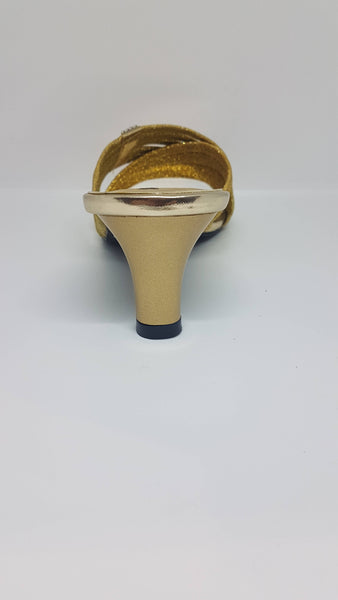 Gold Cross Over Straps Sandal SK007