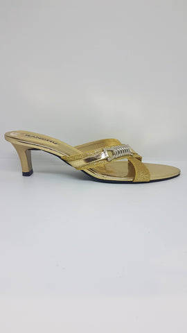 Gold Cross Over Buckle Sandal SK014