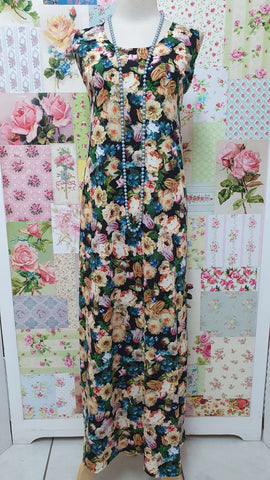 Black Floral Long Dress GD0209