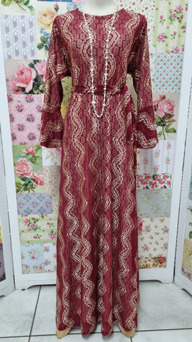 Burgundy & Stone Lace Dress LB003