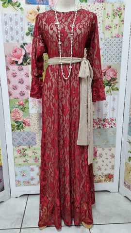 Burgundy & Gold Lace Dress LB004
