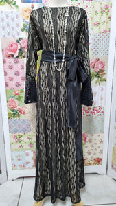 Black & Gold Lace Dress LB001
