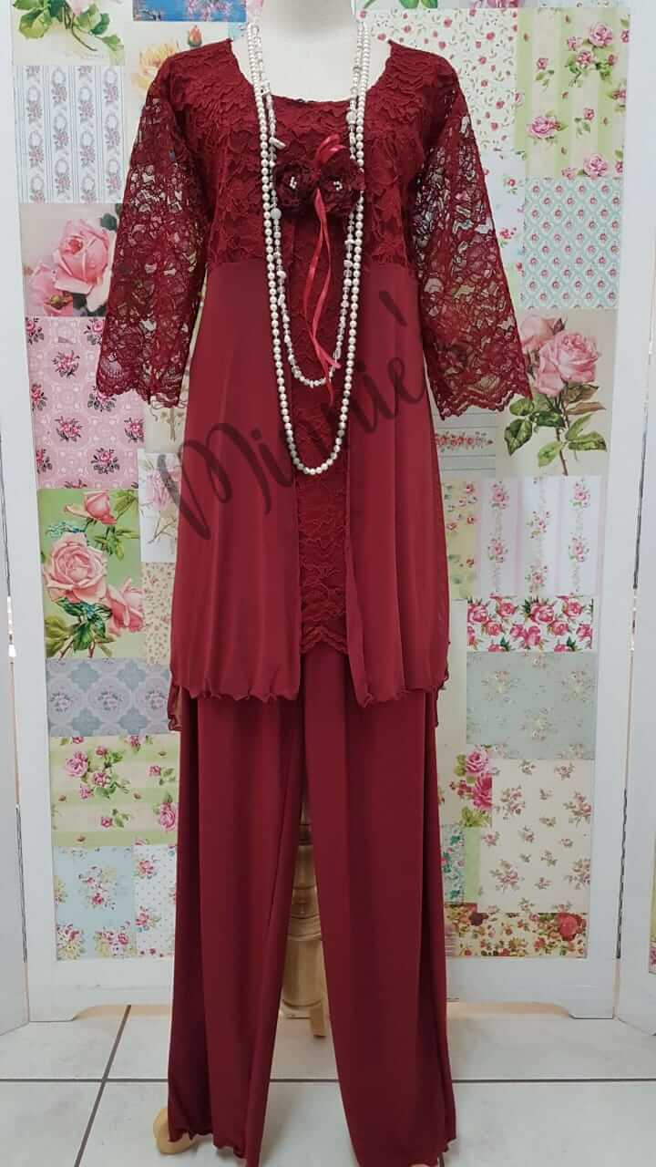 Maroon 3-Piece Pants Set MB0208