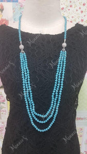 Blue Crystal Bead Necklace JU031