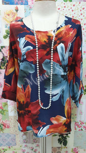 Navy Floral Top CH0229