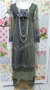 Olive Green & Grey 3-Piece Dress Set ML0111
