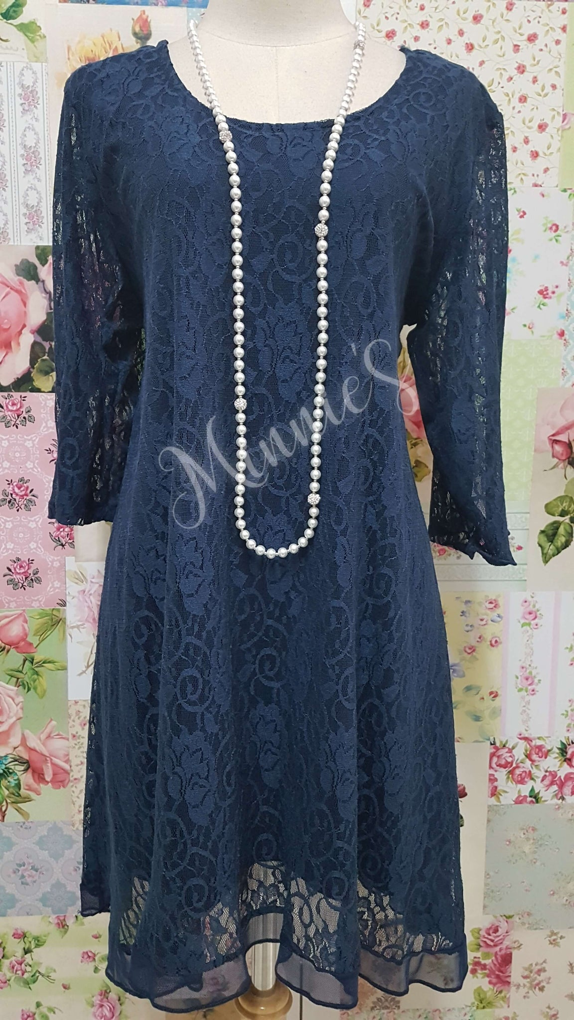 Navy Blue Lace Top MB0160
