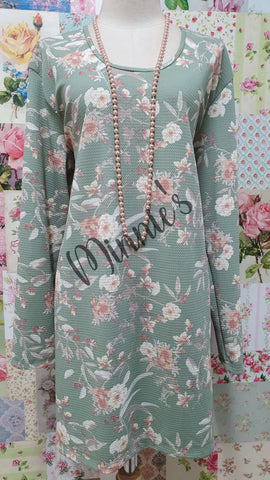 Green & Cream Printed Top GD0181