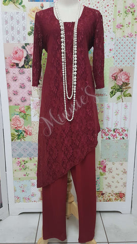 Maroon 3-Piece Pants Set MB019