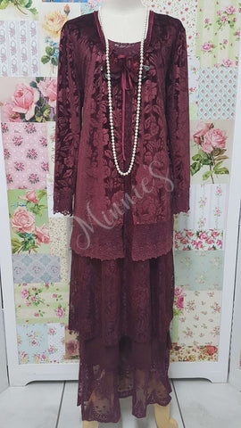 Maroon 3-Piece Dress Set ML0210