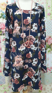 Navy & Peach Printed Top GD0158