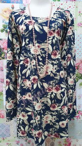 Navy & Cream Printed Top GD0148