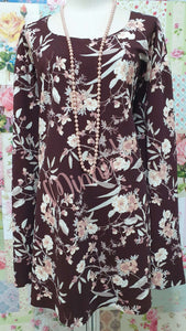 Brown & Cream Floral Top GD0165