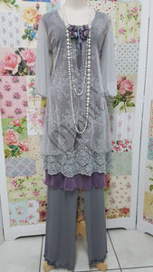 Grey & Plum 4-Piece Pants Set ML0171
