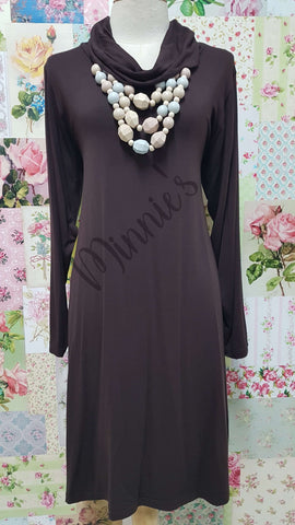 Chocolate Brown Cowl Neck Top MD0182