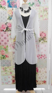 White Mesh Jacket With Tie Knot PG050