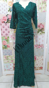 Emerald Green Sequence Long Dress NA098