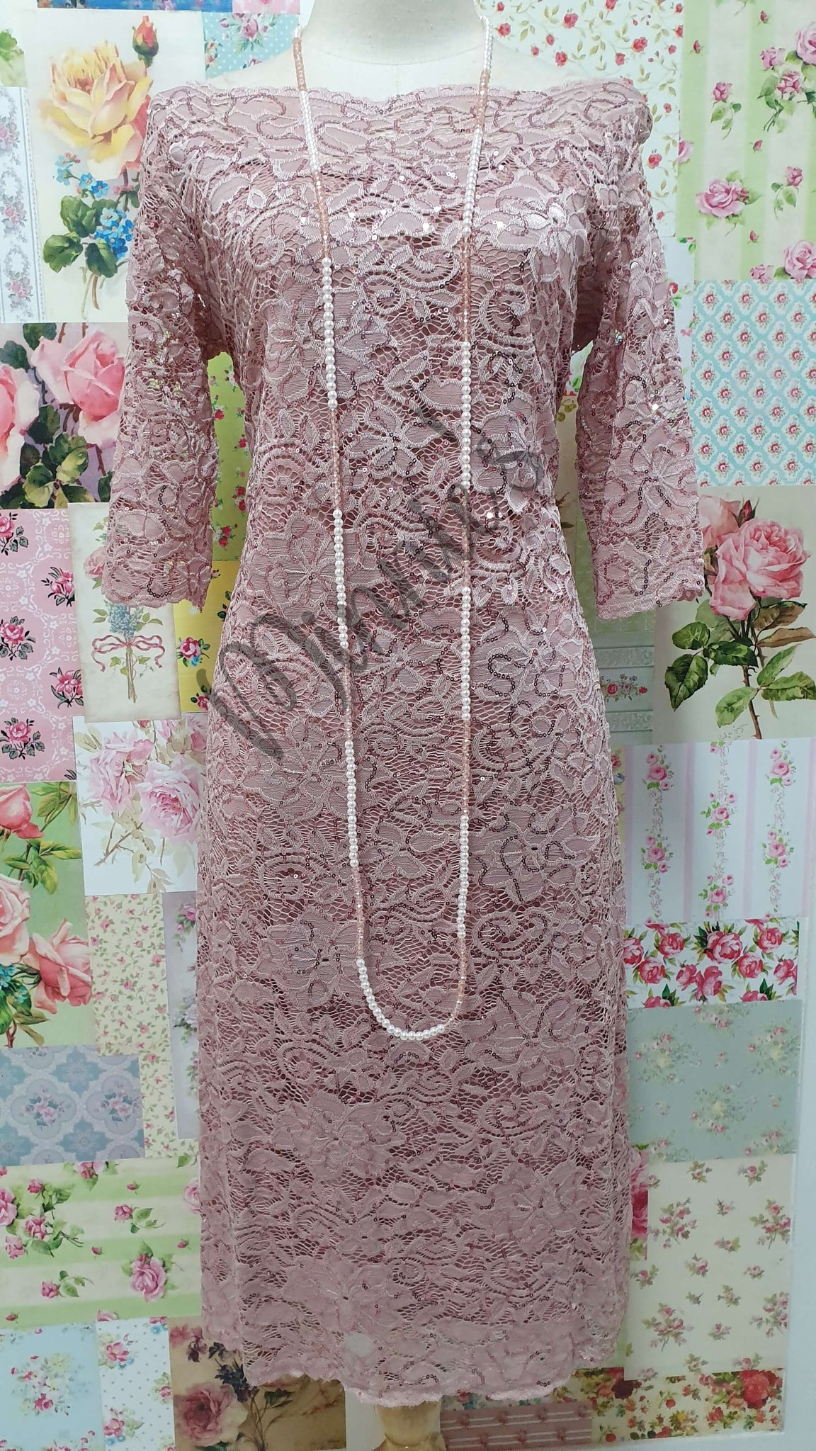 Dusty Pink Lace Dress NA079