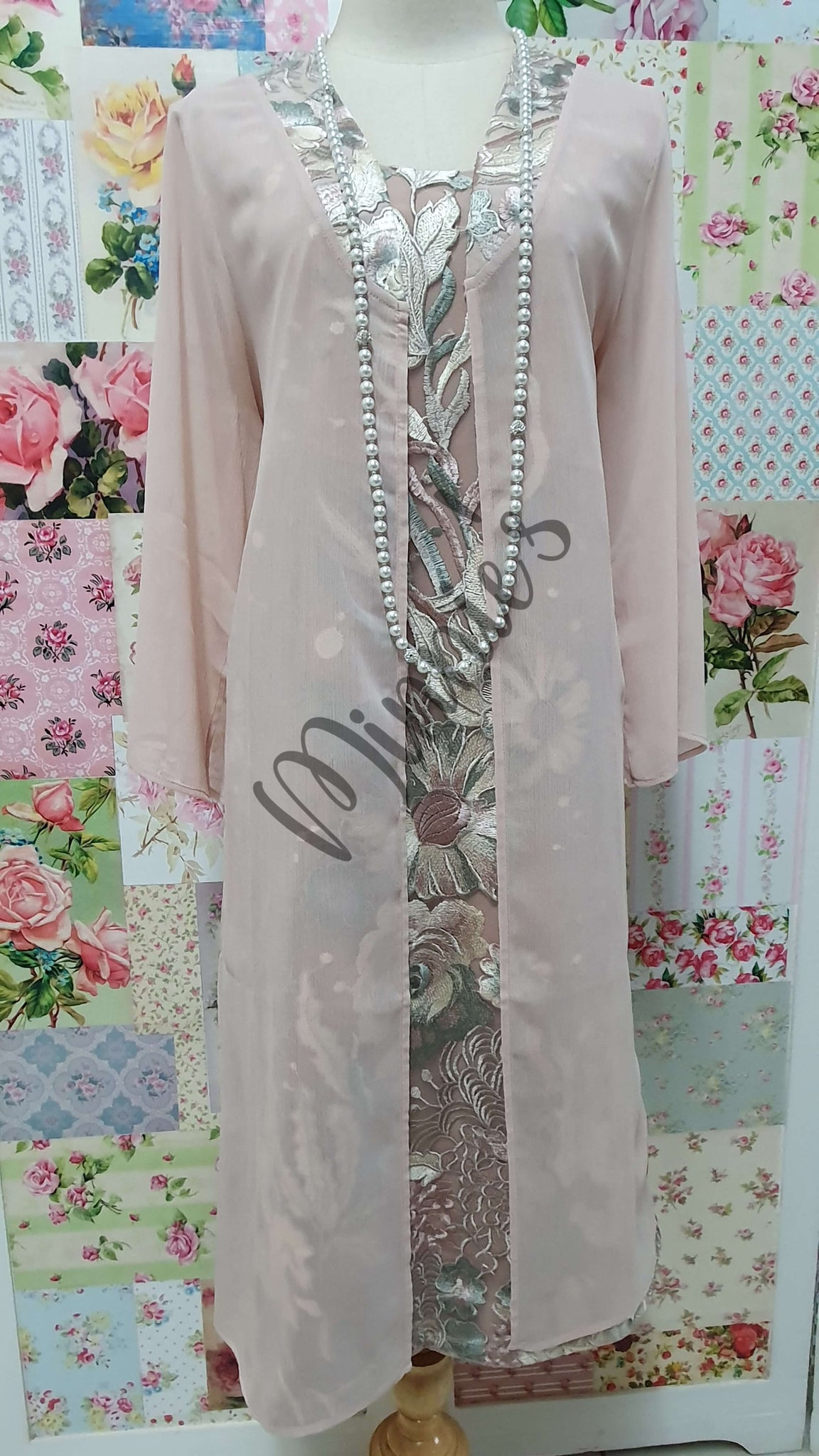 Blush Pink Embroidery 2-Piece Dress Set NA069