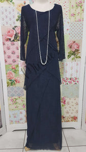 Navy Blue Long Lace Dress NA053
