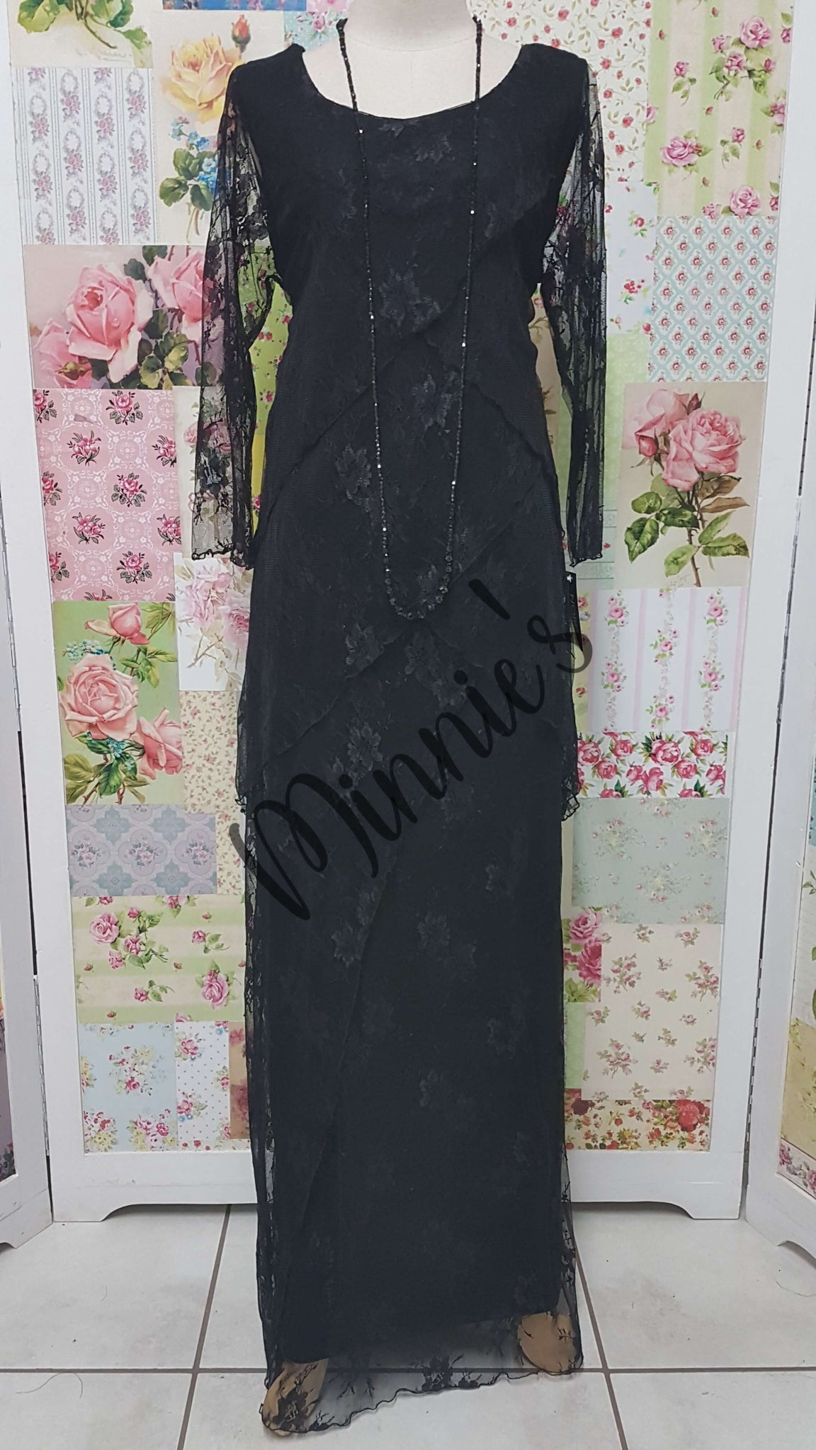 Black Long Lace Dress NA058