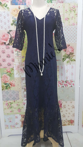 Navy Lace Tullip Dress NA038