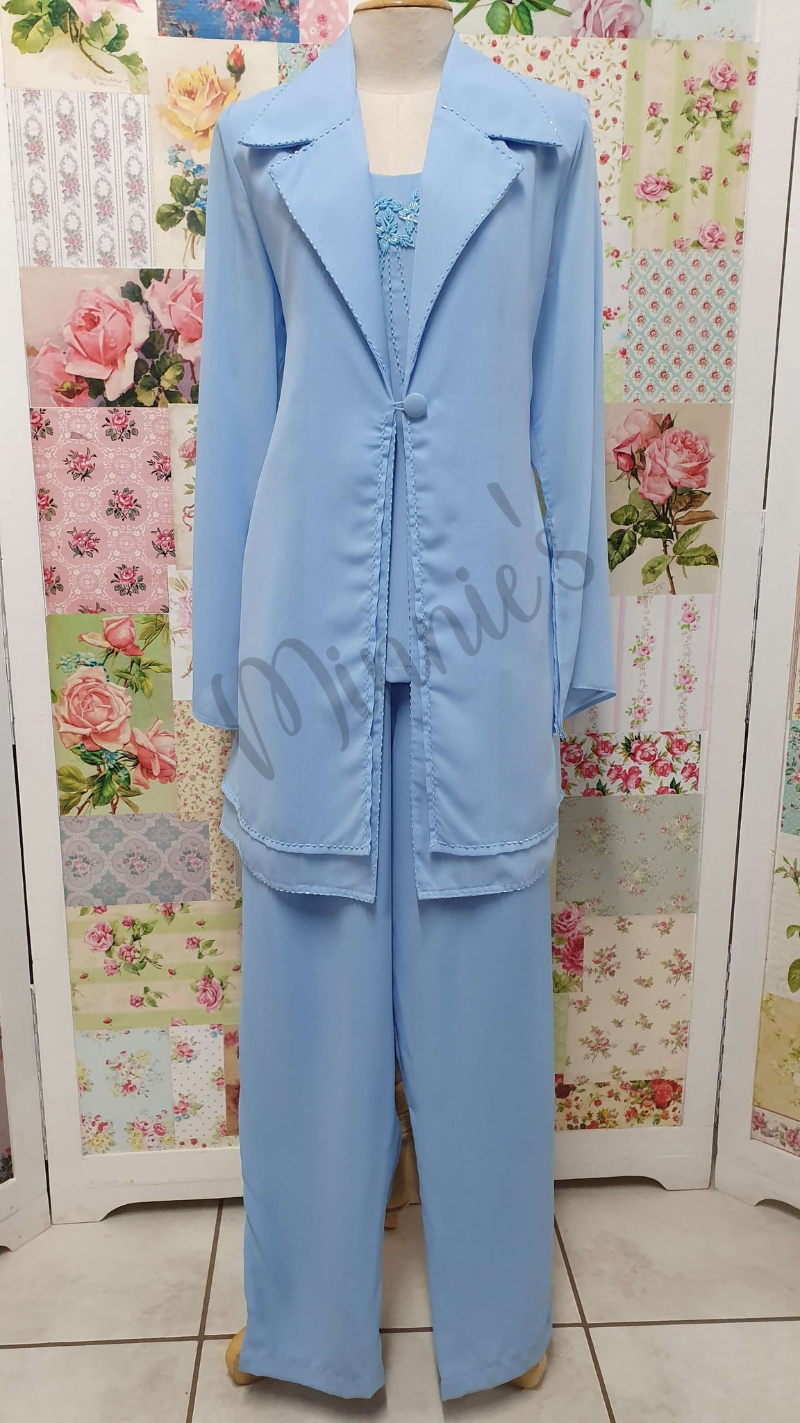 Powder Blue 3-Piece Pants Set HE070