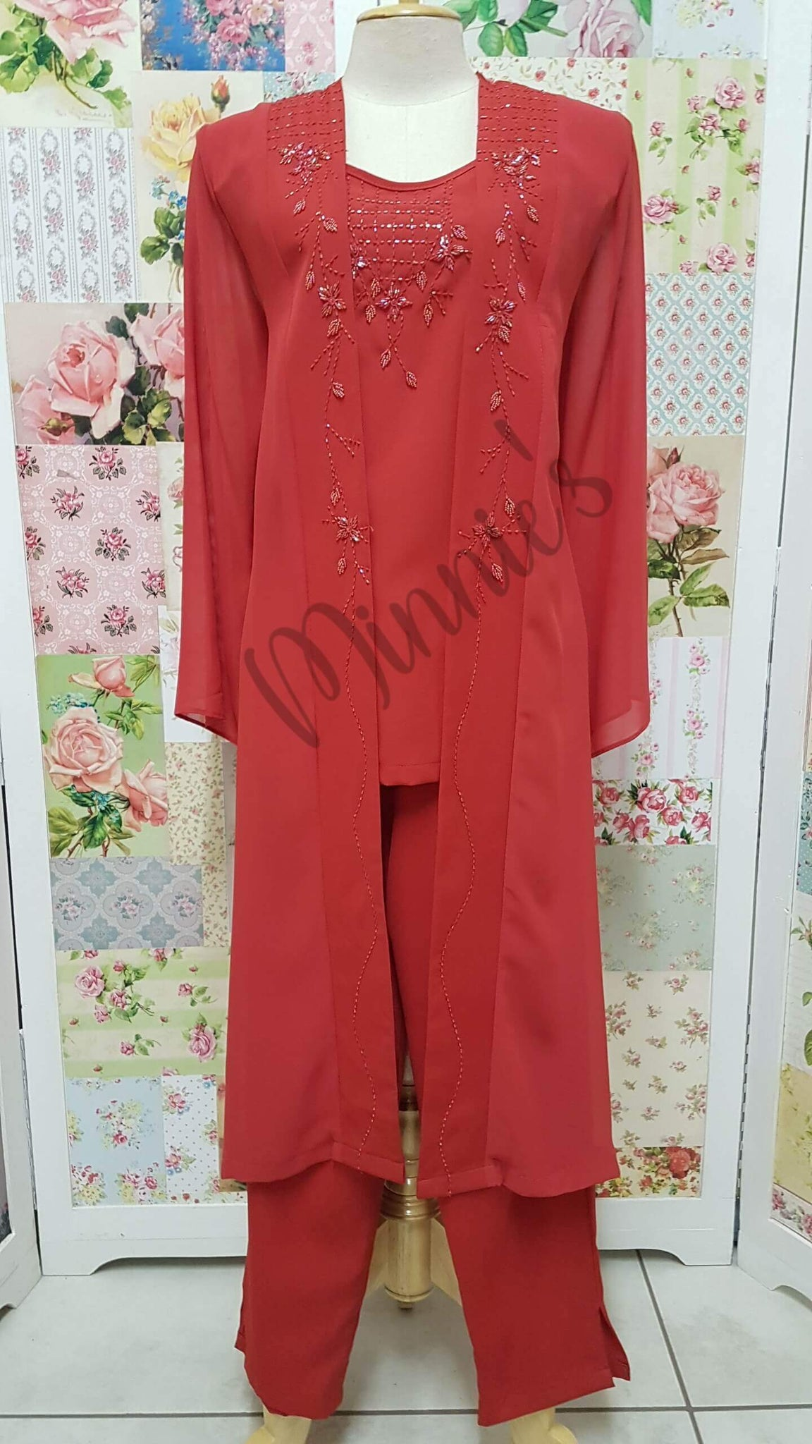 Red 3-Piece Pants Set HE08