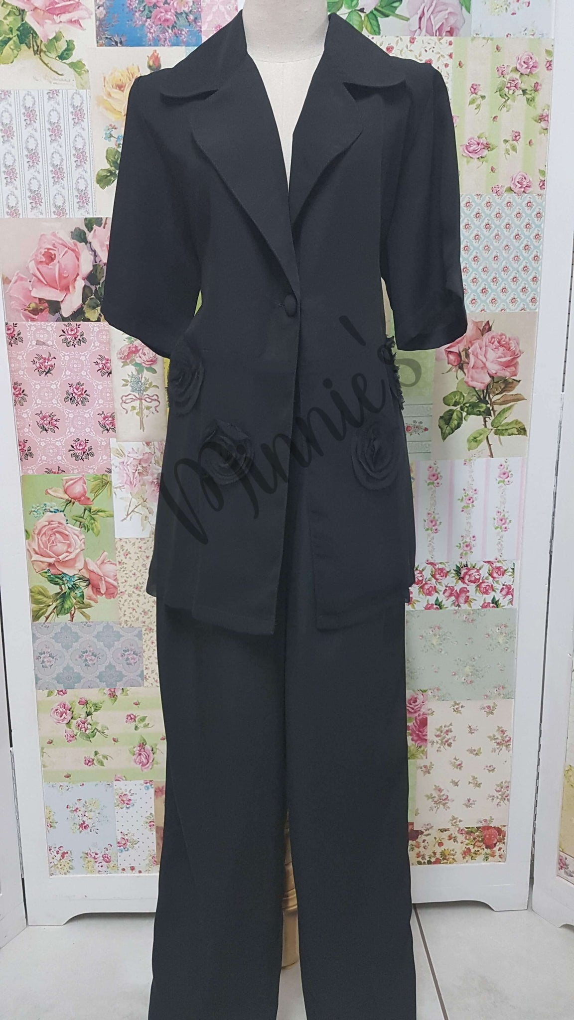 Black 2-Piece Pants Set BS0113
