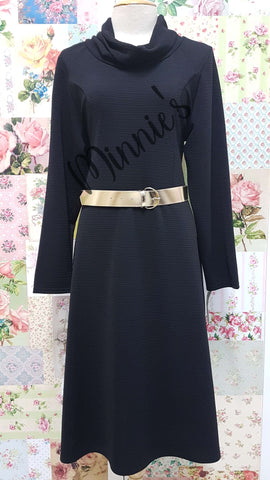 Black Cowl Neck Dress BU025