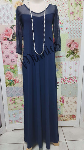 Navy Blue Long Dress CH0692
