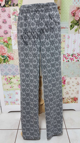 Grey & White Floral Pants CH0465